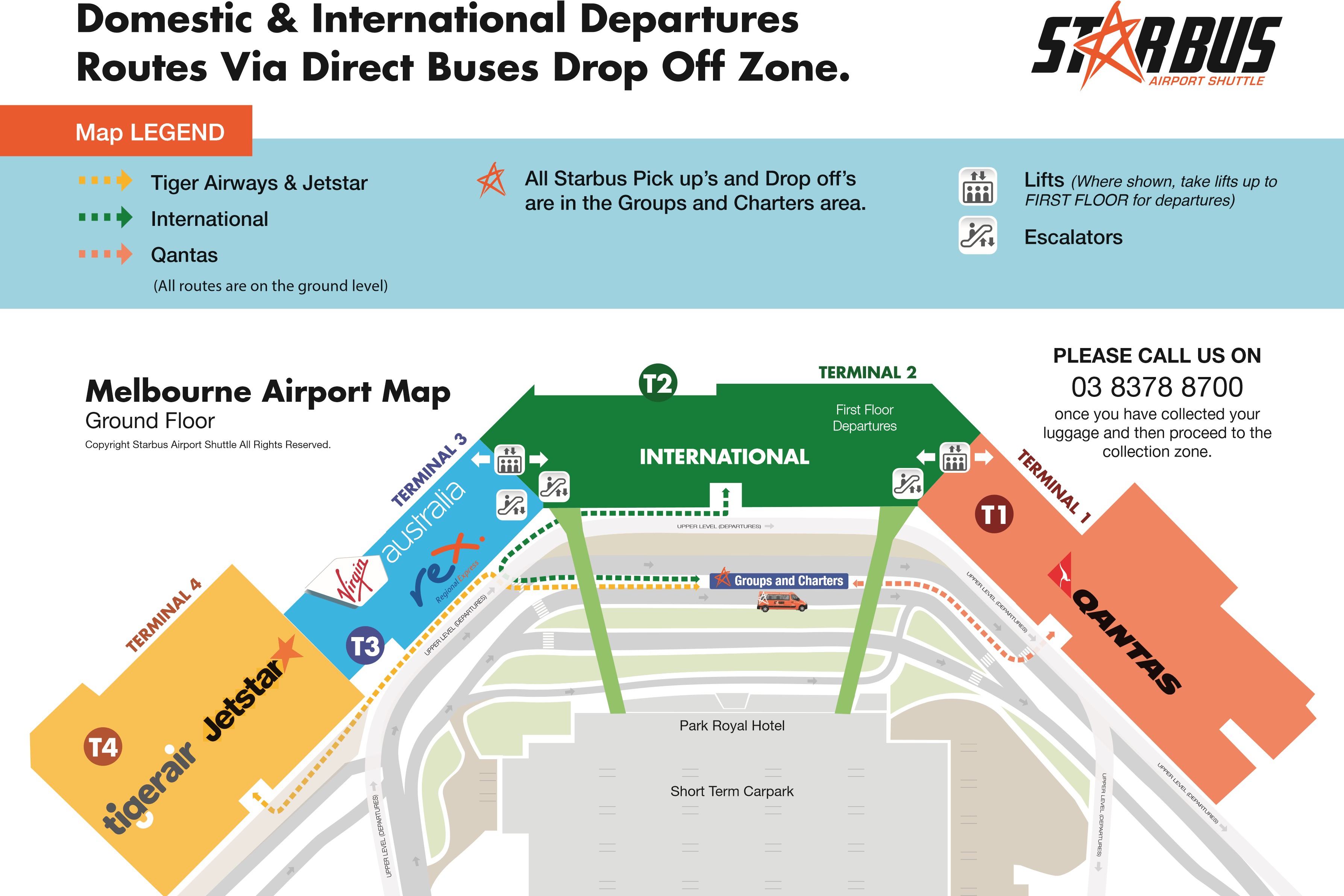 Melbourne Airport Map Starbus collection area